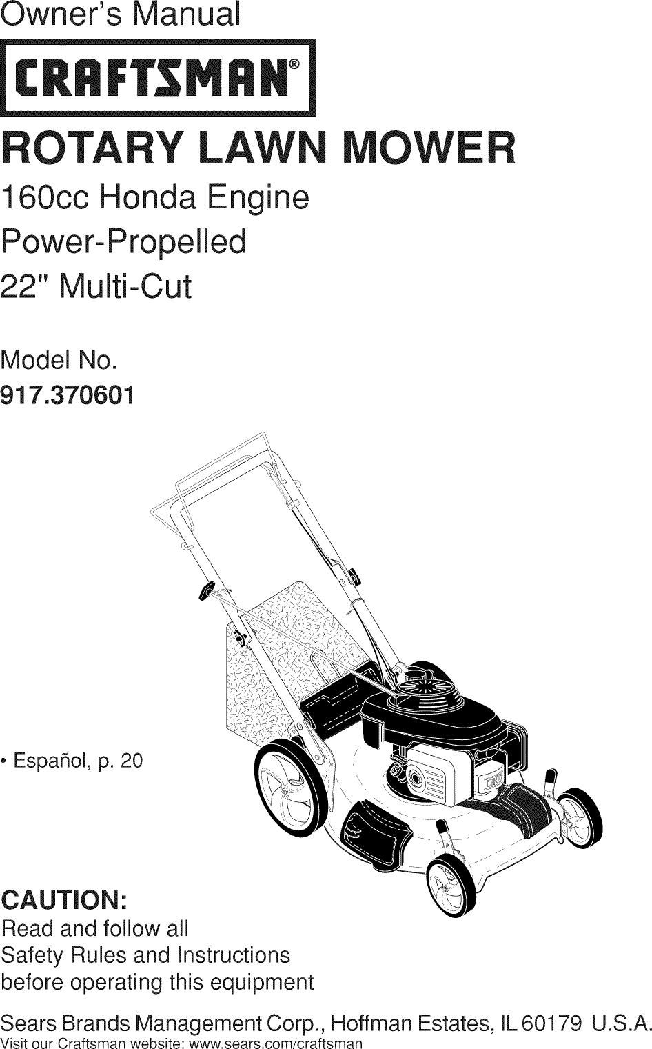 Craftsman 917370601 1212338L User Manual MOWER Manuals And