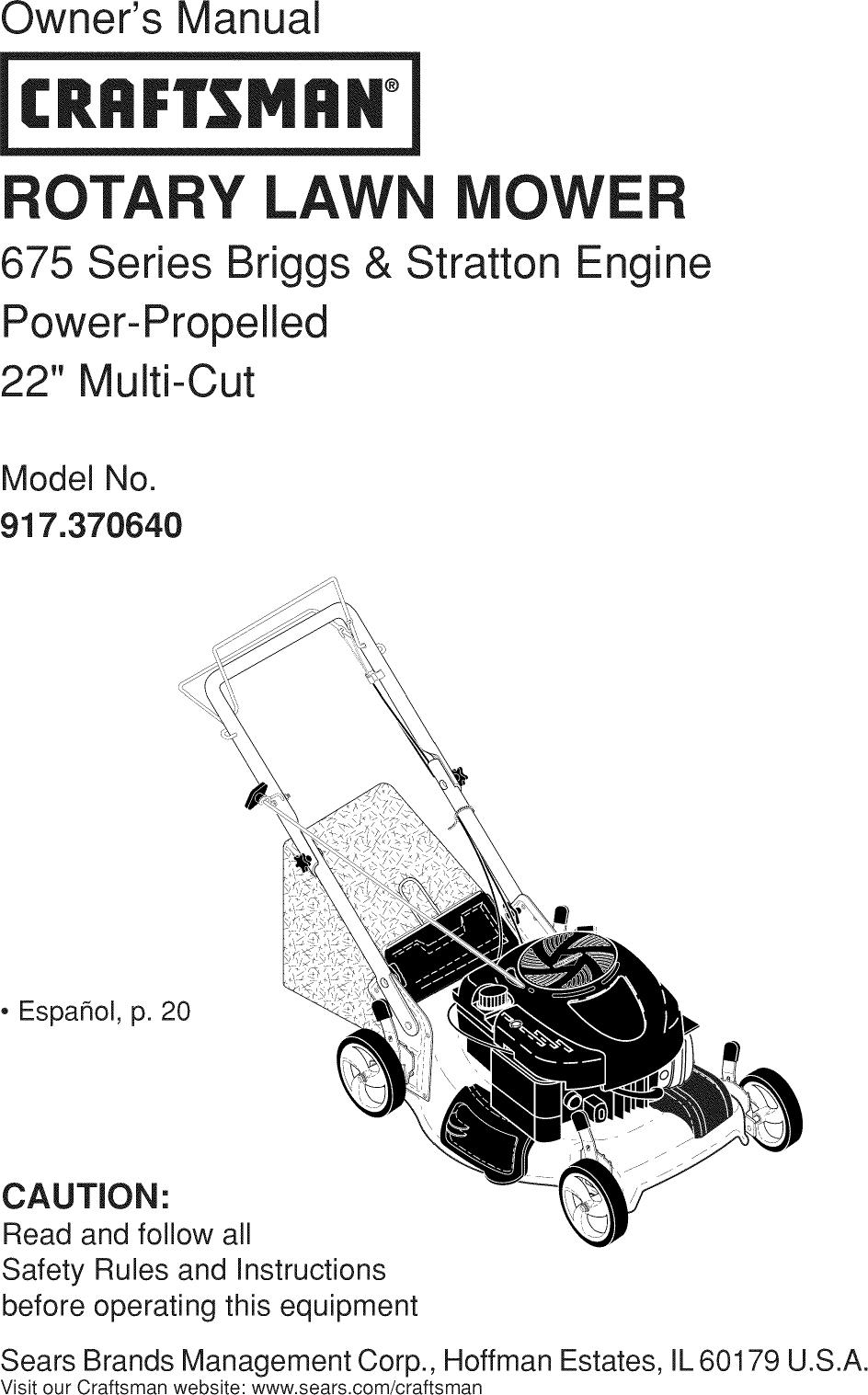 Craftsman 917370640 User Manual MOWER Manuals And Guides