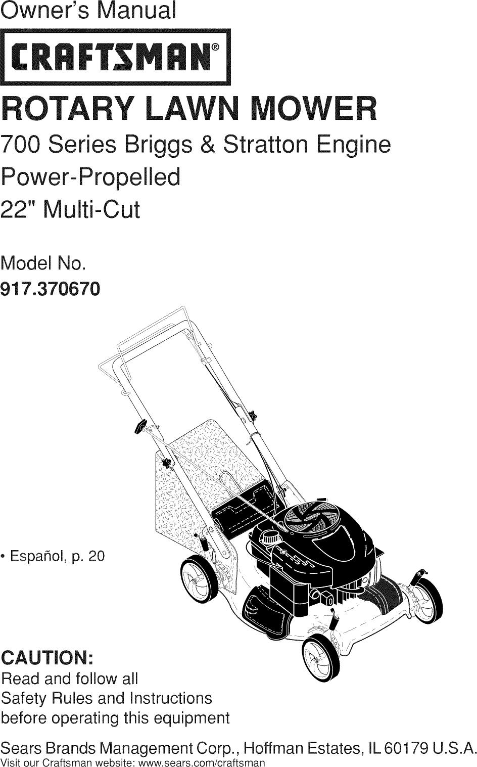 Craftsman 917370670 User Manual MOWER Manuals And Guides
