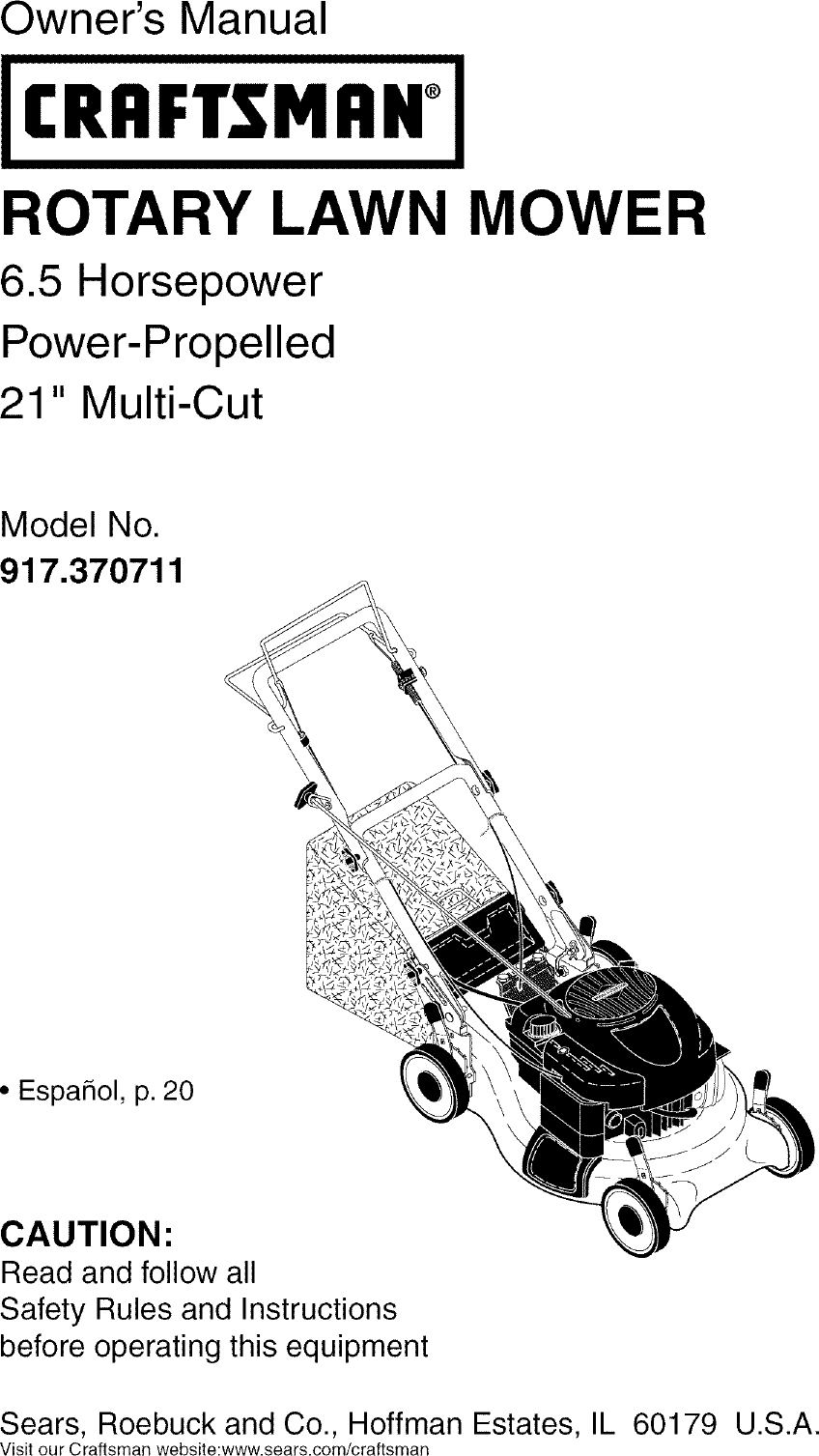 Craftsman 917370711 User Manual MOWER Manuals And Guides