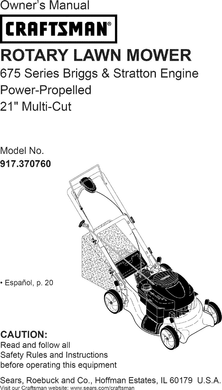 Craftsman 917370760 User Manual LAWN MOWER Manuals And