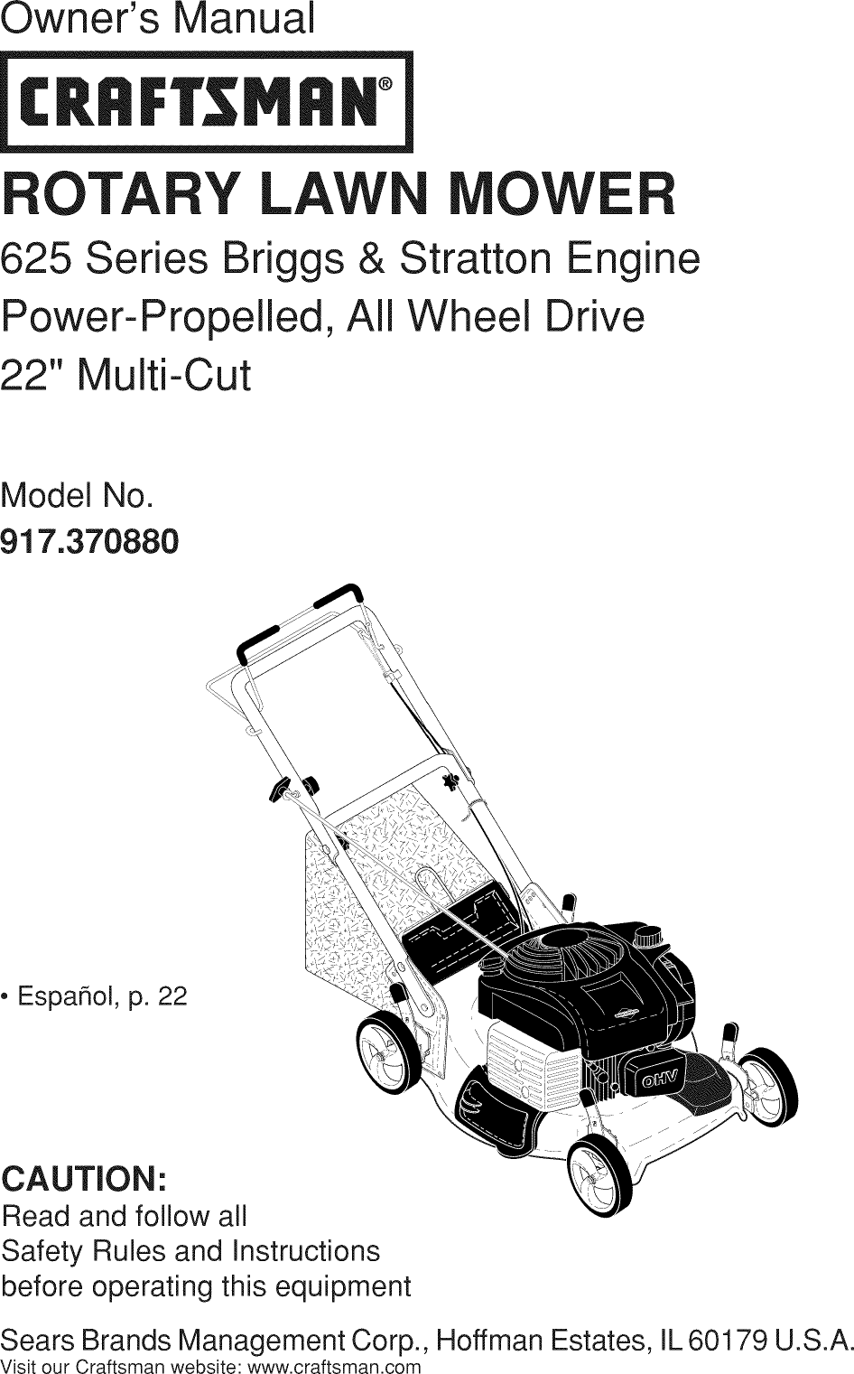 Craftsman 917370880 User Manual MOWER Manuals And Guides
