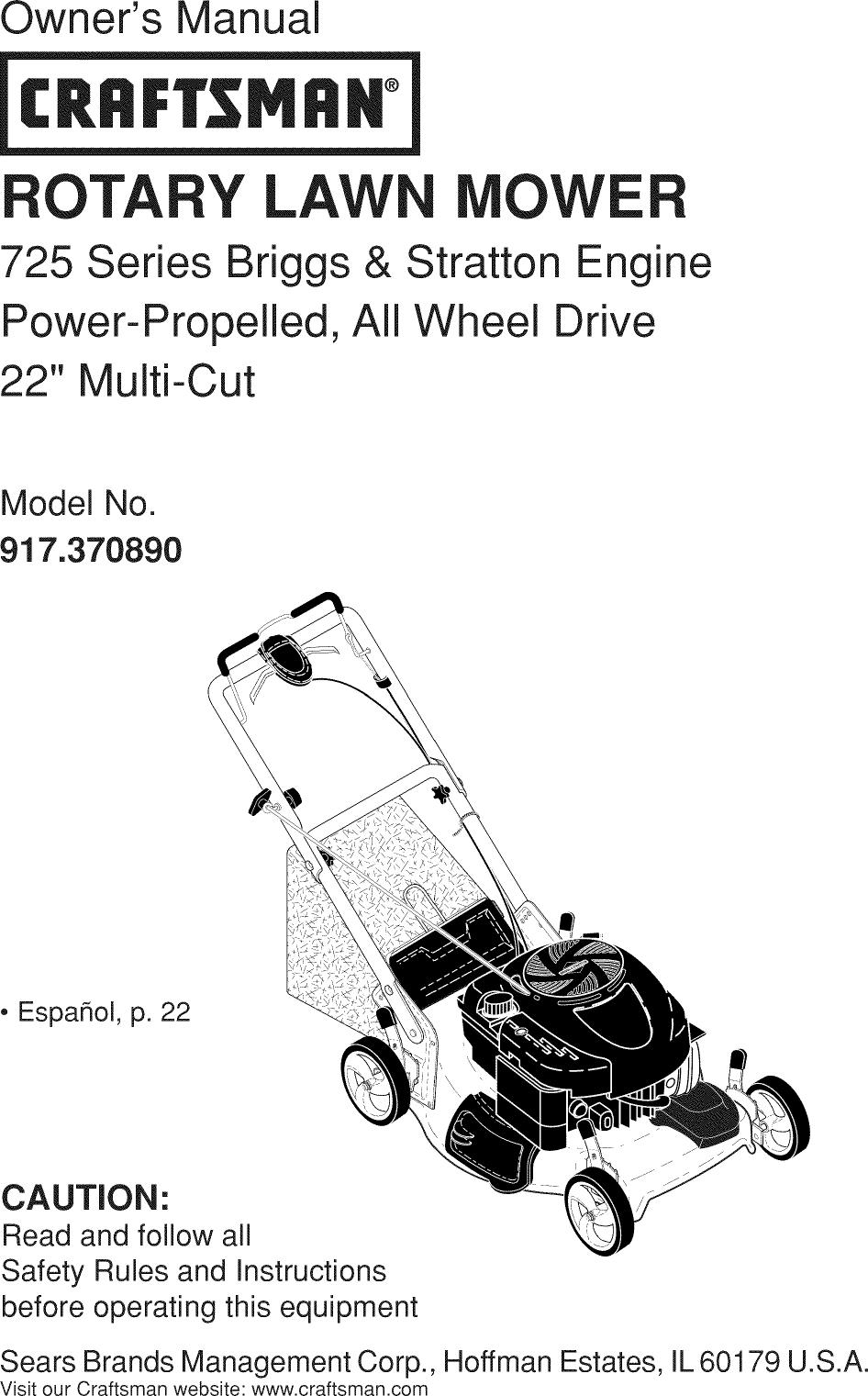 Craftsman 917370890 User Manual MOWER Manuals And Guides