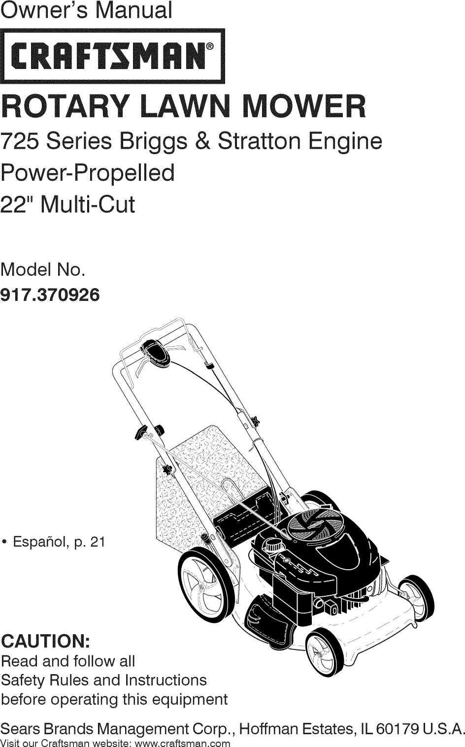 Craftsman 917370926 1501261L User Manual LAWN MOWER