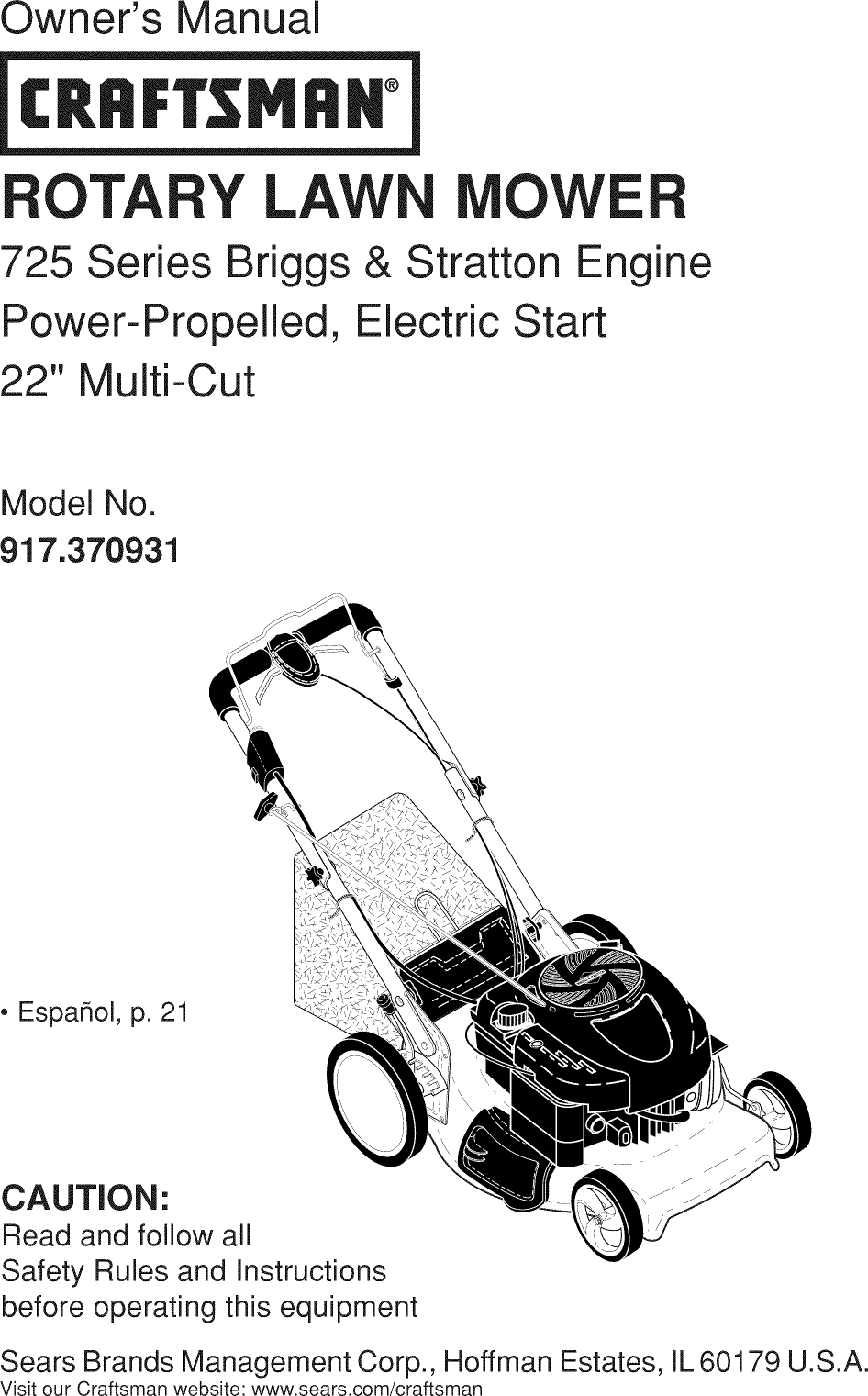 Craftsman 917370931 User Manual MOWER Manuals And Guides