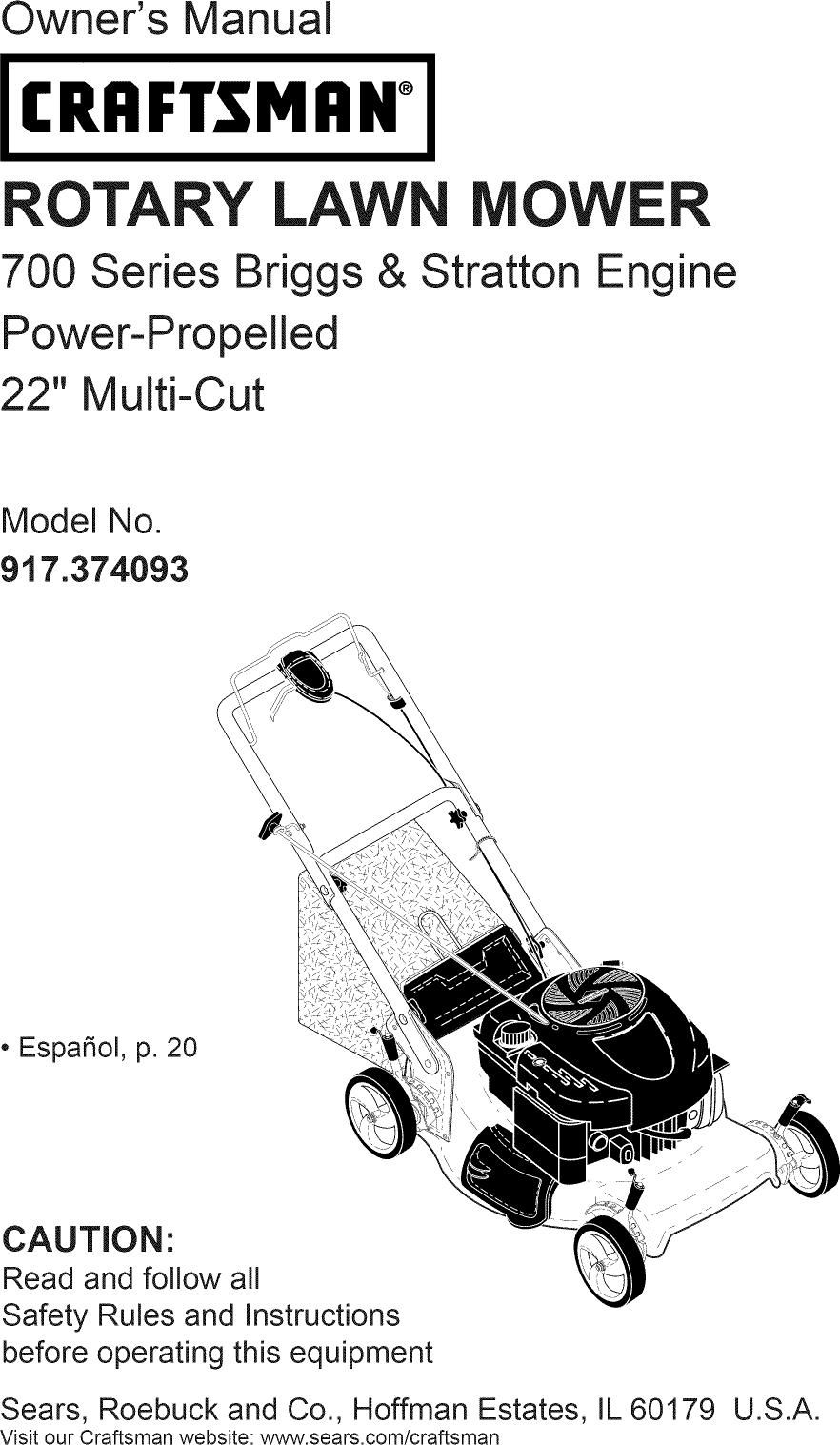 Craftsman 917374093 L1003101 User Manual LAWN MOWER