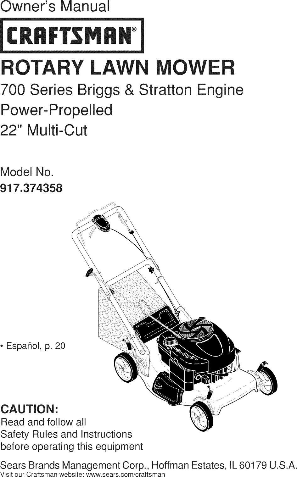 Craftsman 917374358 User Manual MOWER Manuals And Guides