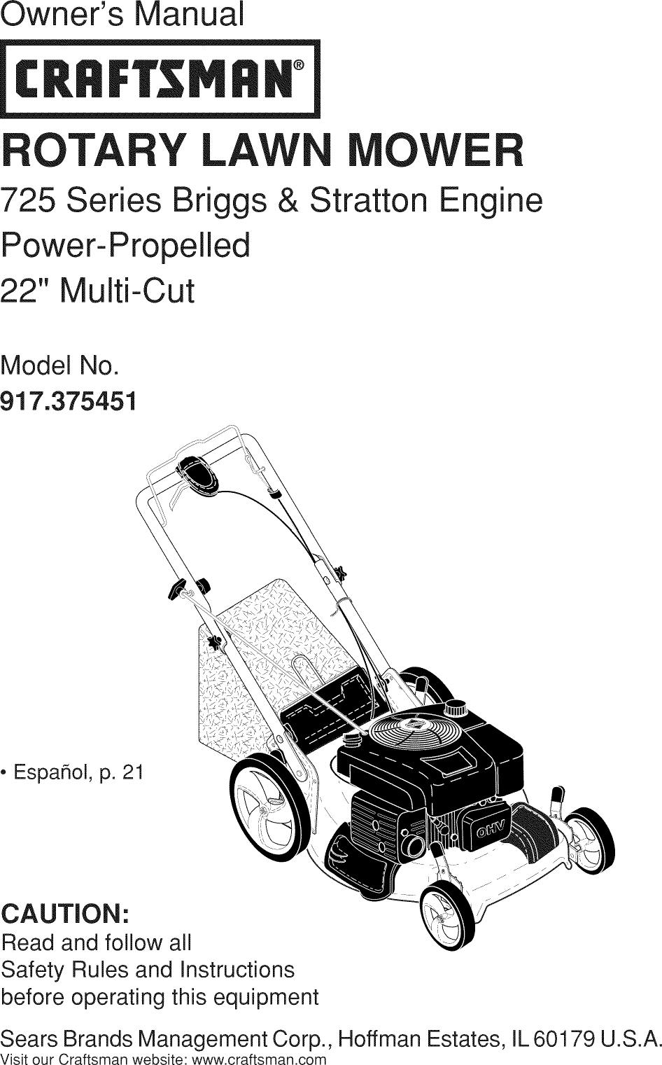 Craftsman 917375451 User Manual MOWER Manuals And Guides