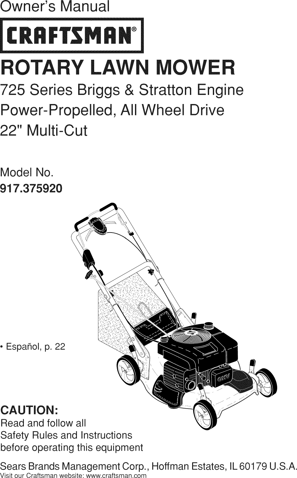 Craftsman 917375920 User Manual LAWN MOWER Manuals And
