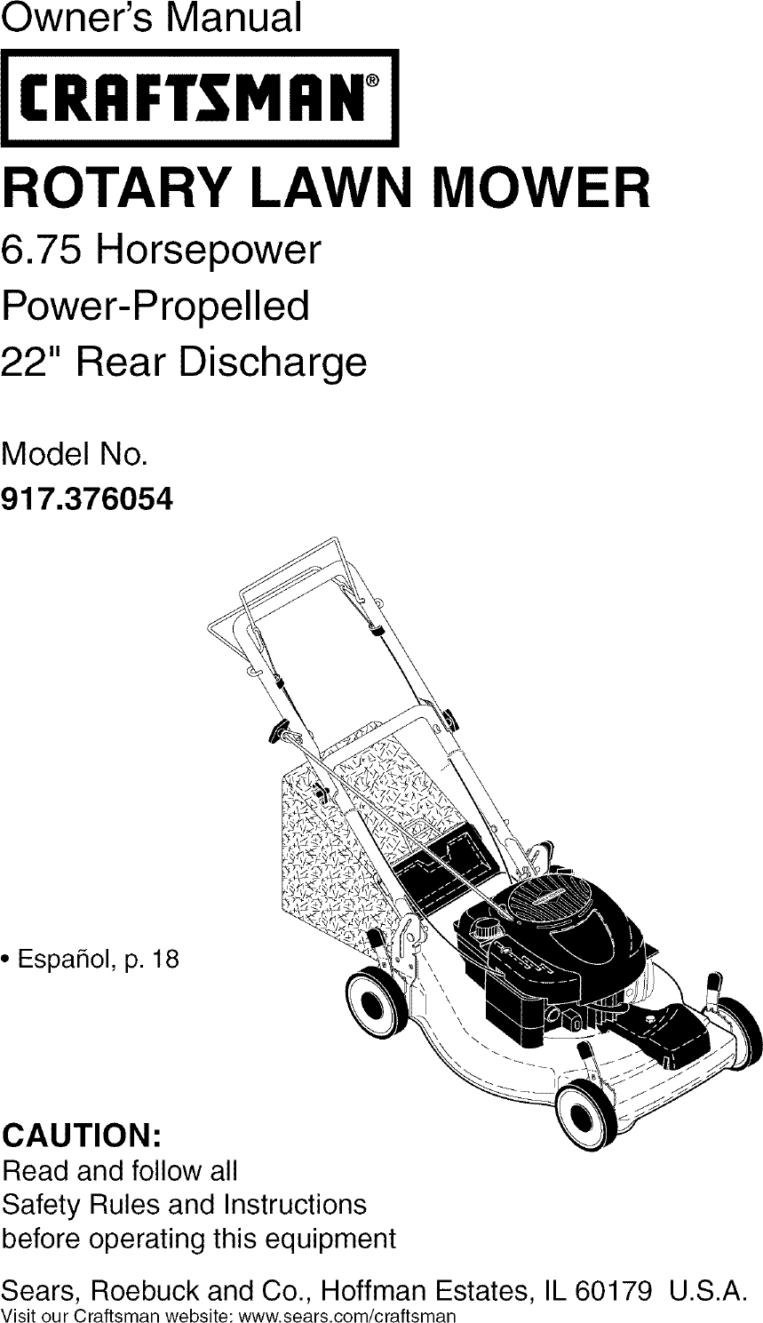 Craftsman 917376054 User Manual MOWER Manuals And Guides