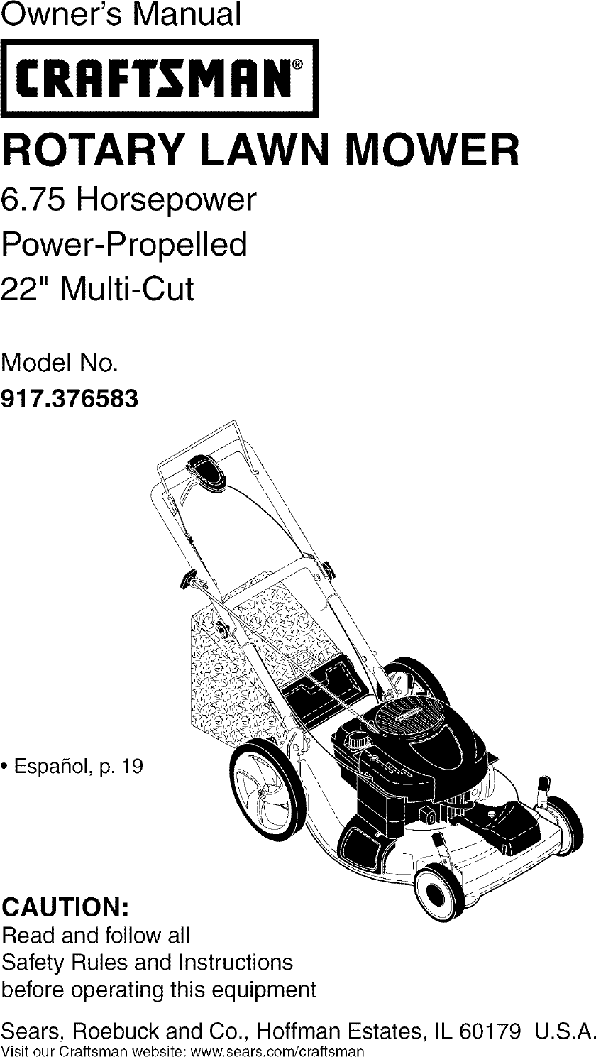 Craftsman 917376583 User Manual ROTARY MOWER Manuals And
