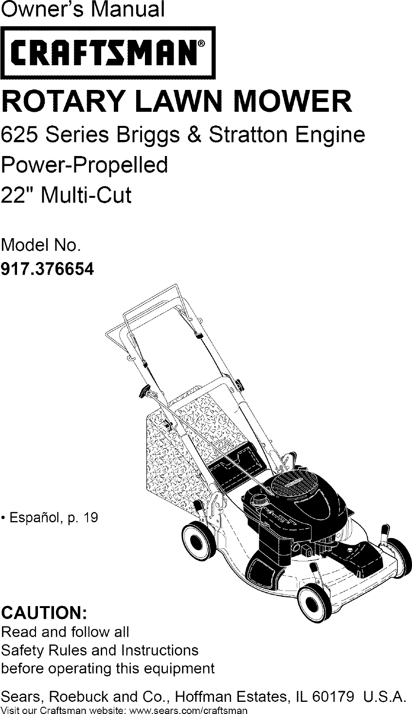 Craftsman 917376654 User Manual LAWN MOWER Manuals And