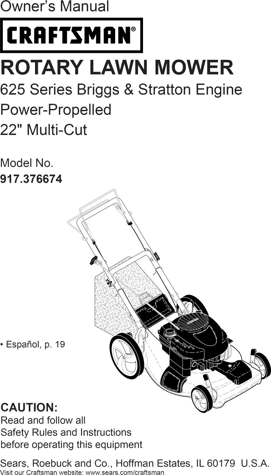 Craftsman 917376674 User Manual LAWN MOWER Manuals And
