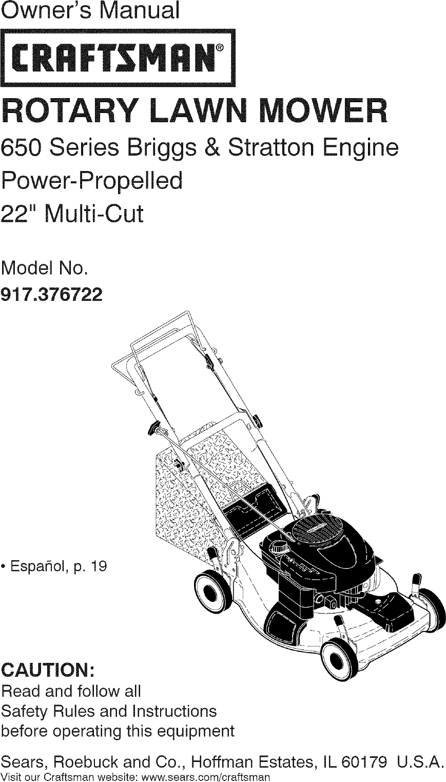Craftsman 917376722 User Manual LAWN MOWER Manuals And