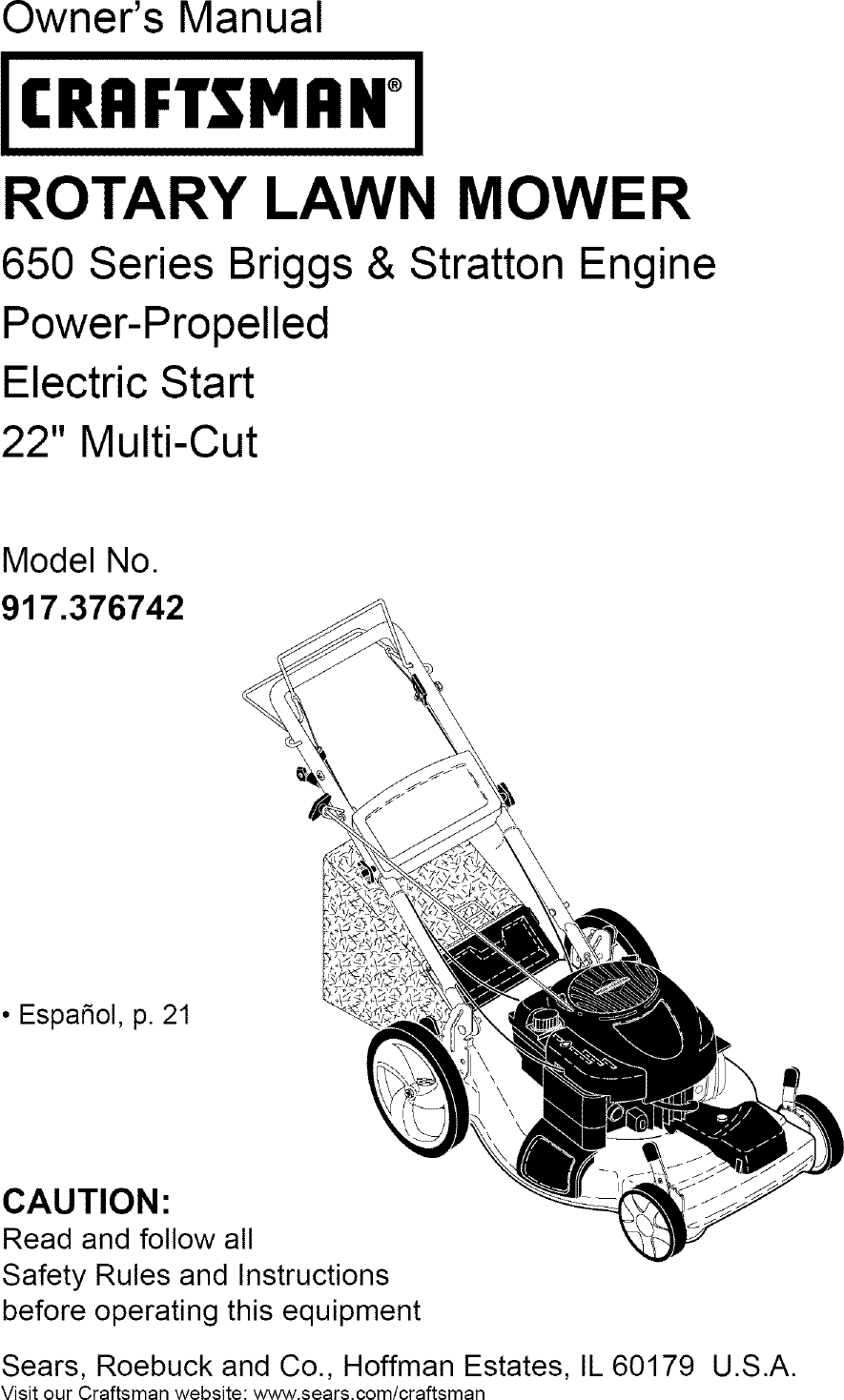 Craftsman 917376742 User Manual LAWN MOWER Manuals And