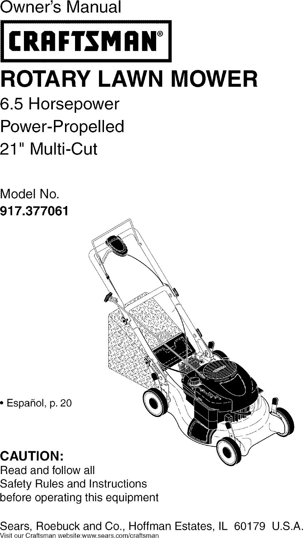 Craftsman 917377061 User Manual ROTARY MOWER Manuals And