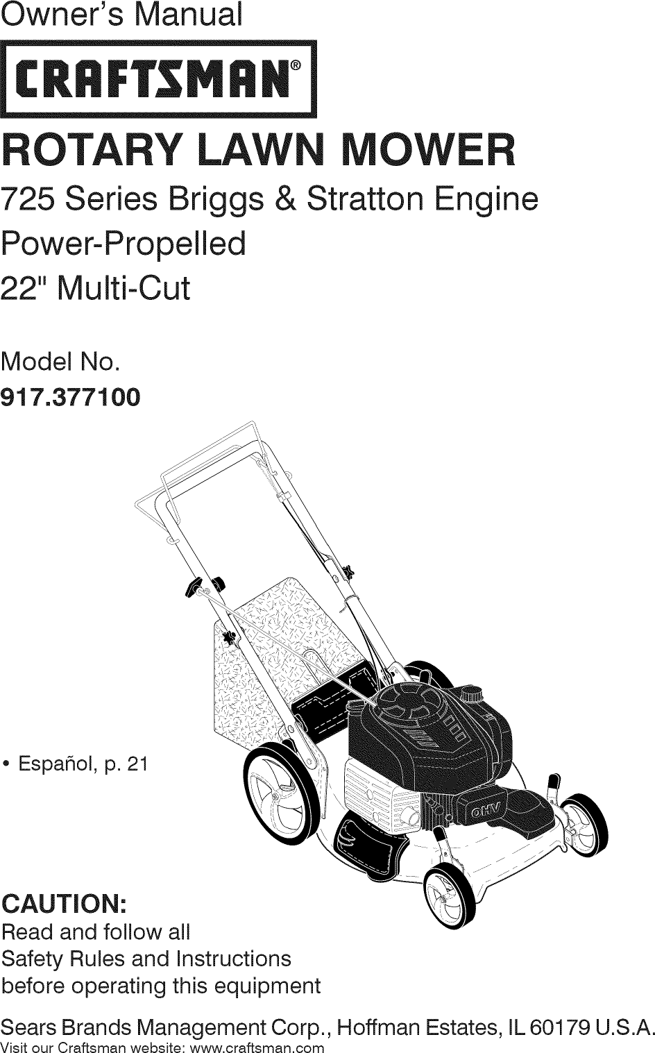Craftsman 917377100 1411347L User Manual LAWN MOWER