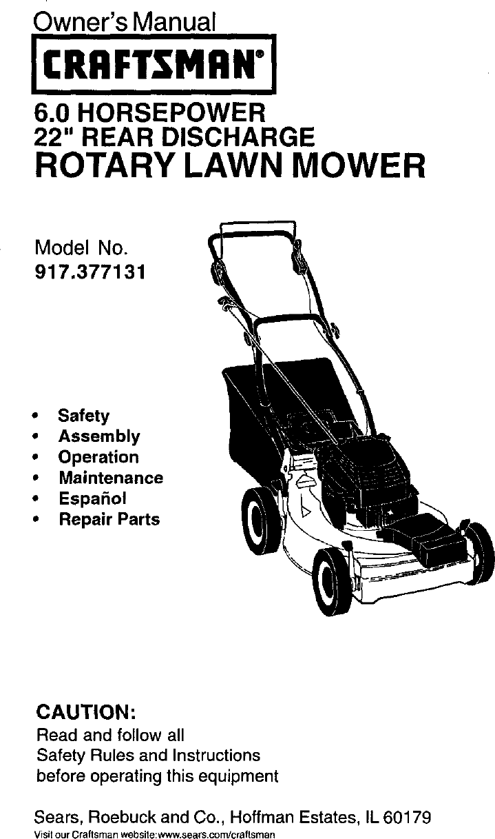 Craftsman 917377131 User Manual Gas, Walk Behind Lawnmower
