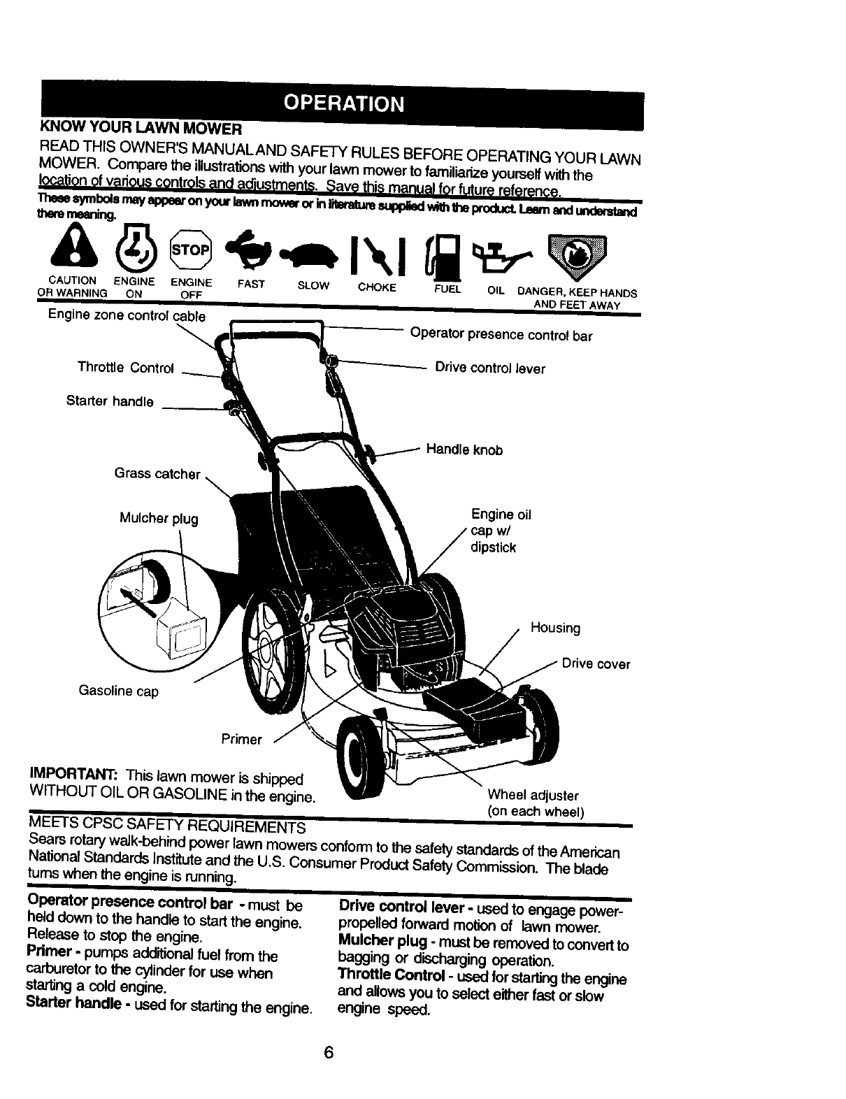 Craftsman 917377150 User Manual Gas, Walk Behind Lawnmower