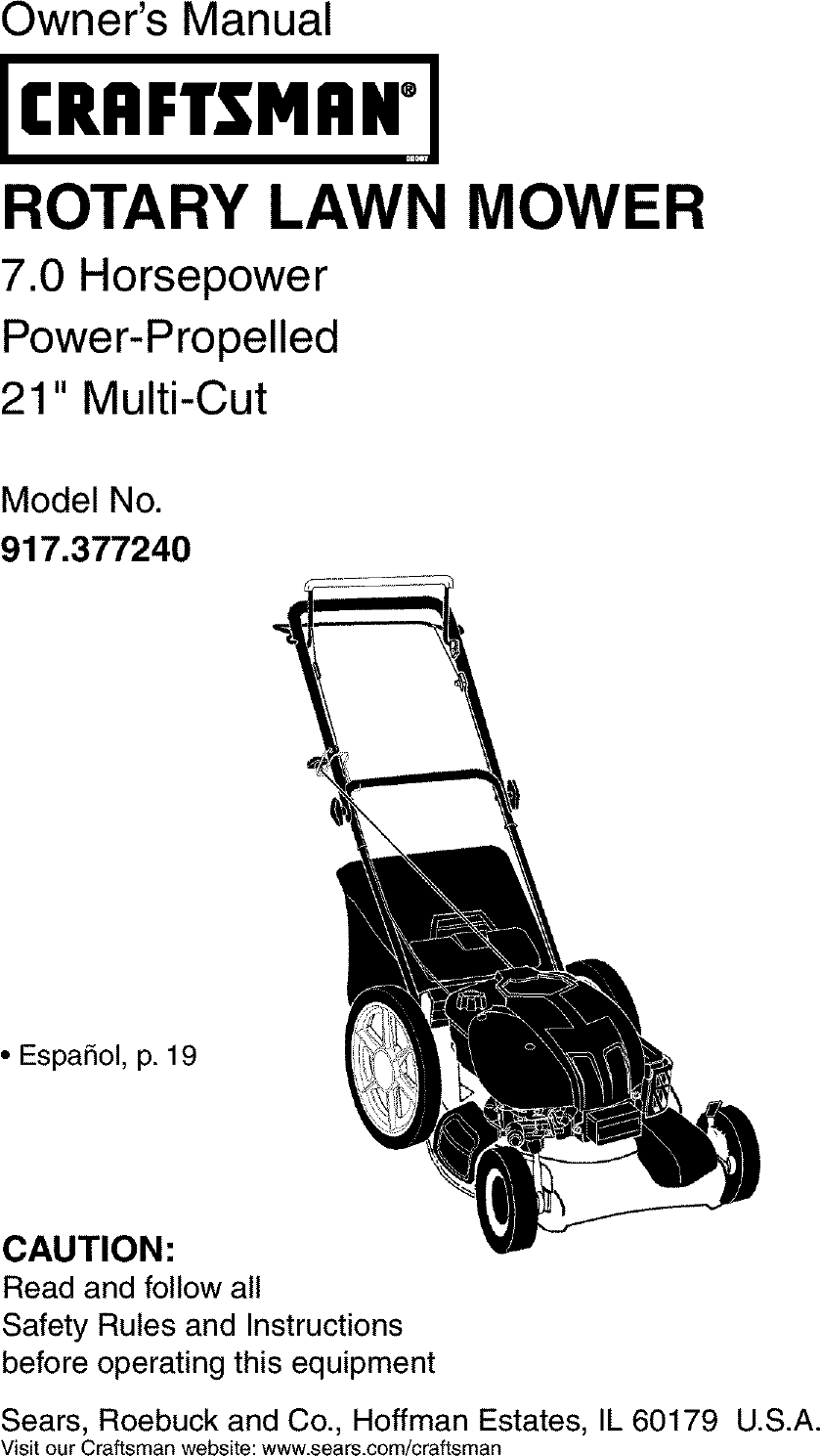 Craftsman 917377240 User Manual ROTARY MOWER Manuals And