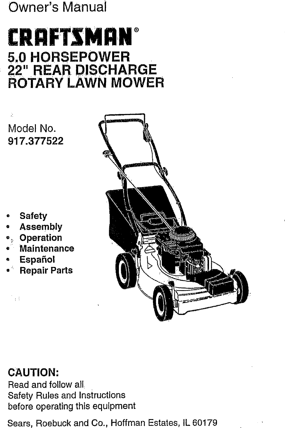 Craftsman 917377522 User Manual ROTARY MOWER Manuals And