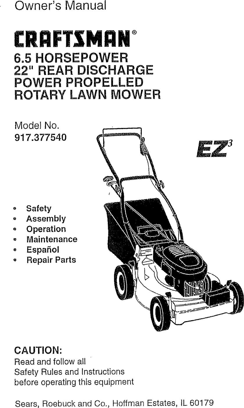 Craftsman 917377540 User Manual ROTARY MOWER Manuals And