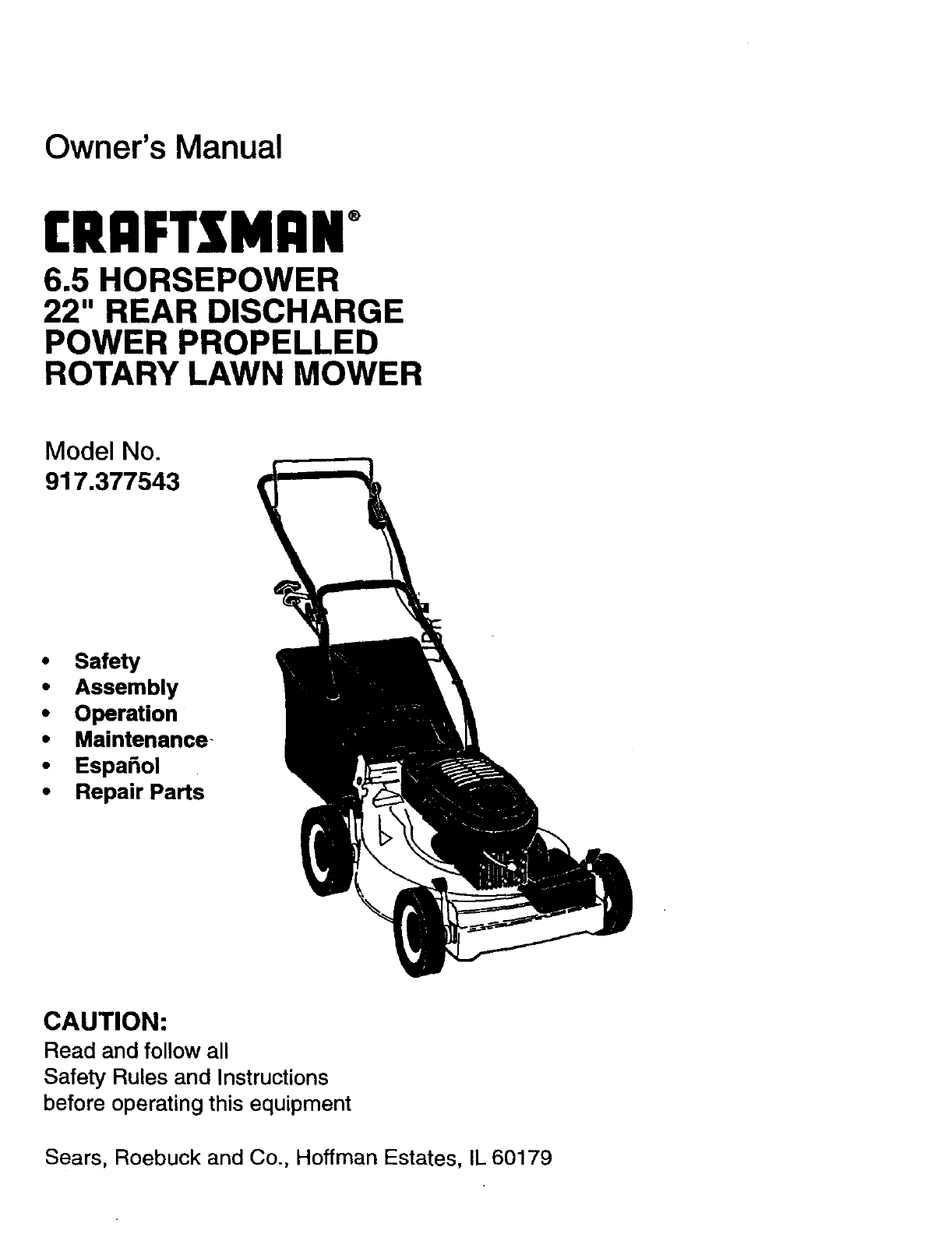 Craftsman 6.5 Hp Lawn Mower Manual : Craftsman Mower