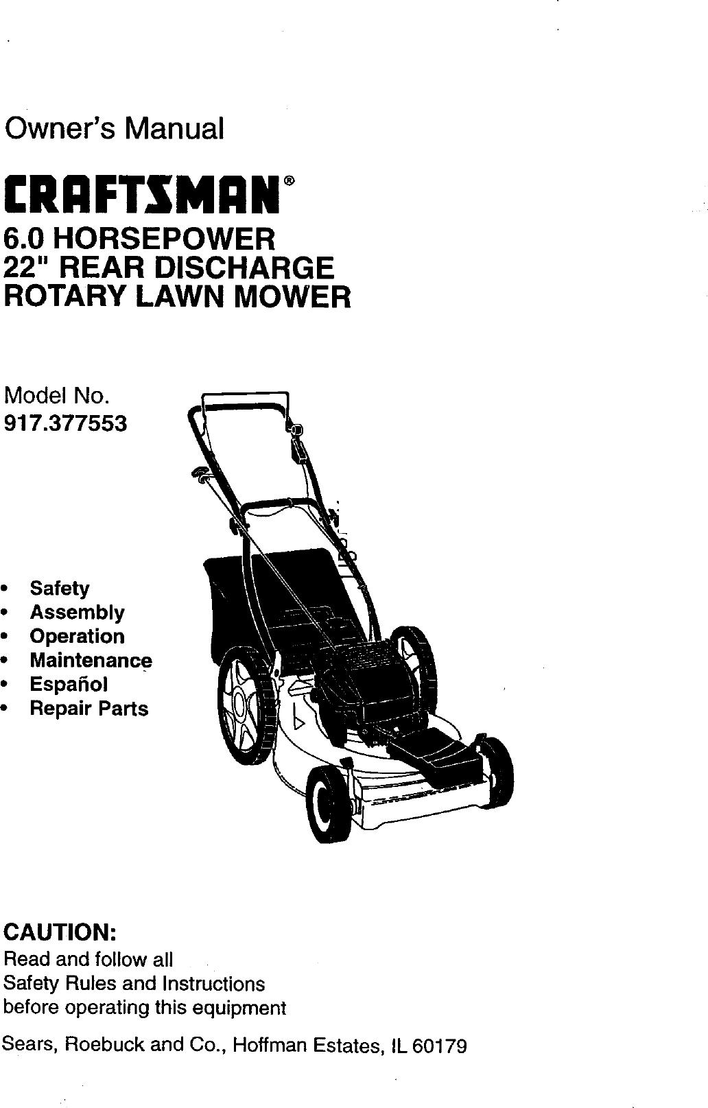 Craftsman 917377553 User Manual ROTARY MOWER Manuals And