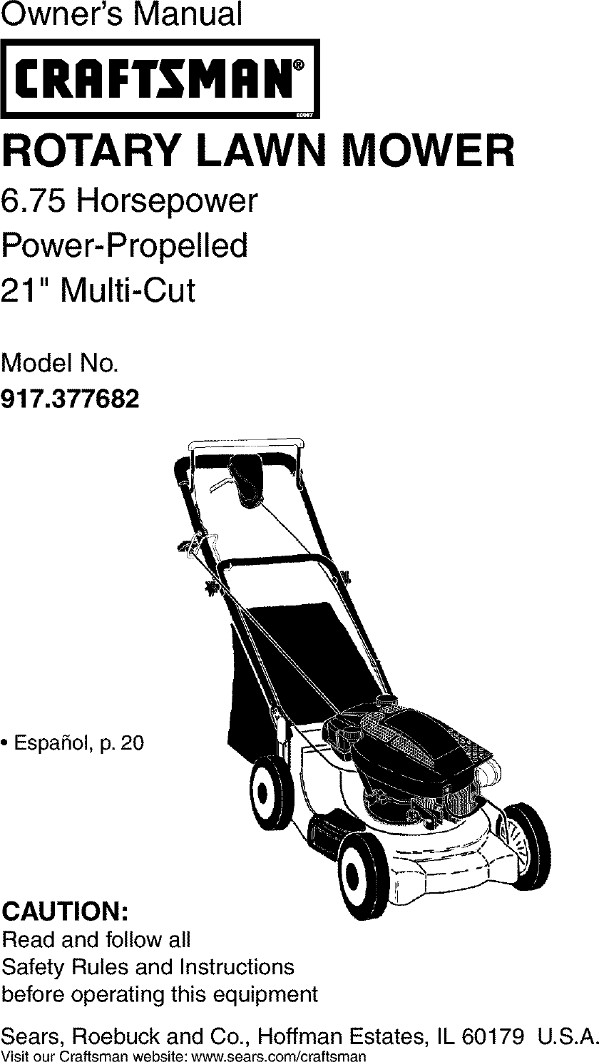 Craftsman 917377682 User Manual Gas, Walk Behind Lawnmower