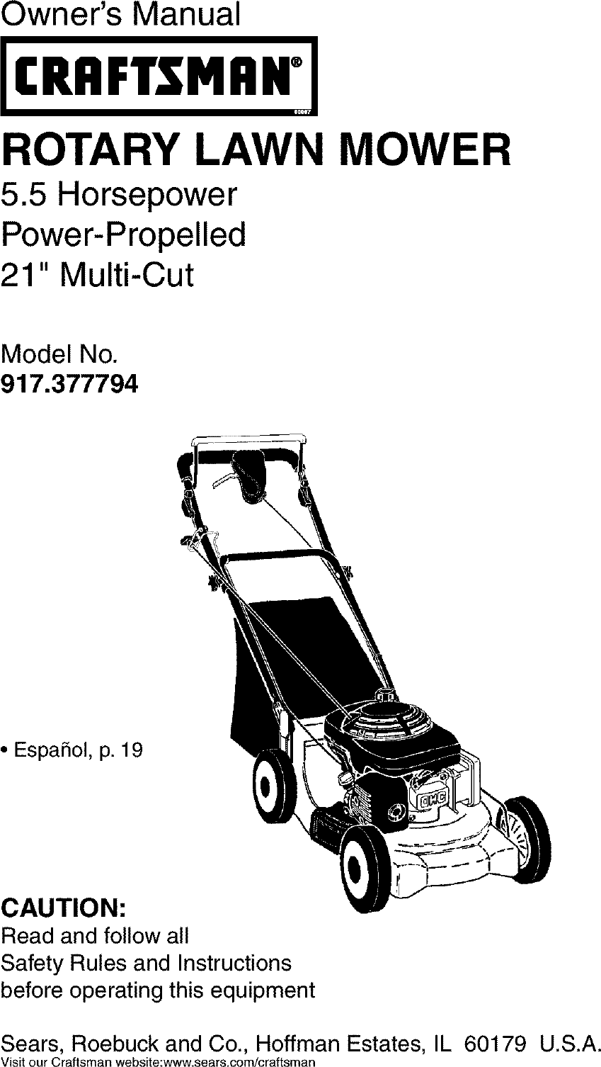 Craftsman 917377794 User Manual Gas, Walk Behind Lawnmower