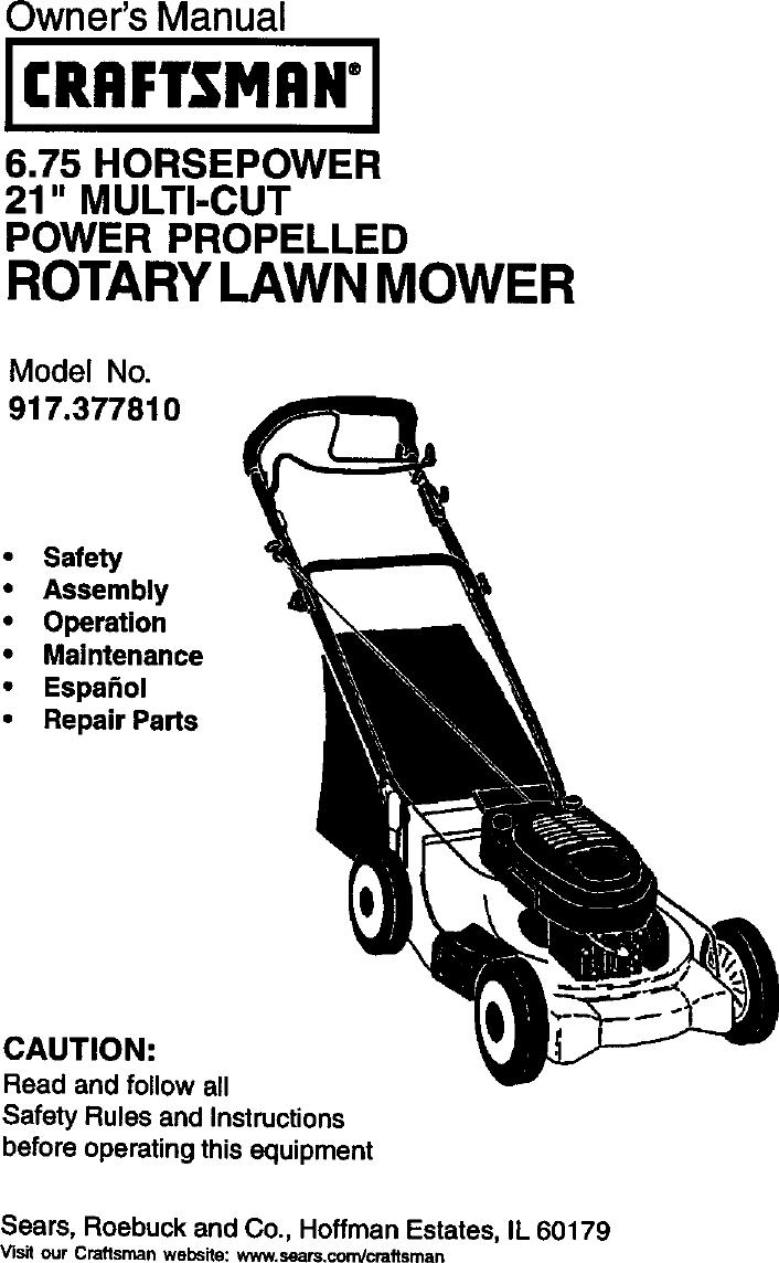 Craftsman 917377810 User Manual Gas, Walk Behind Lawnmower