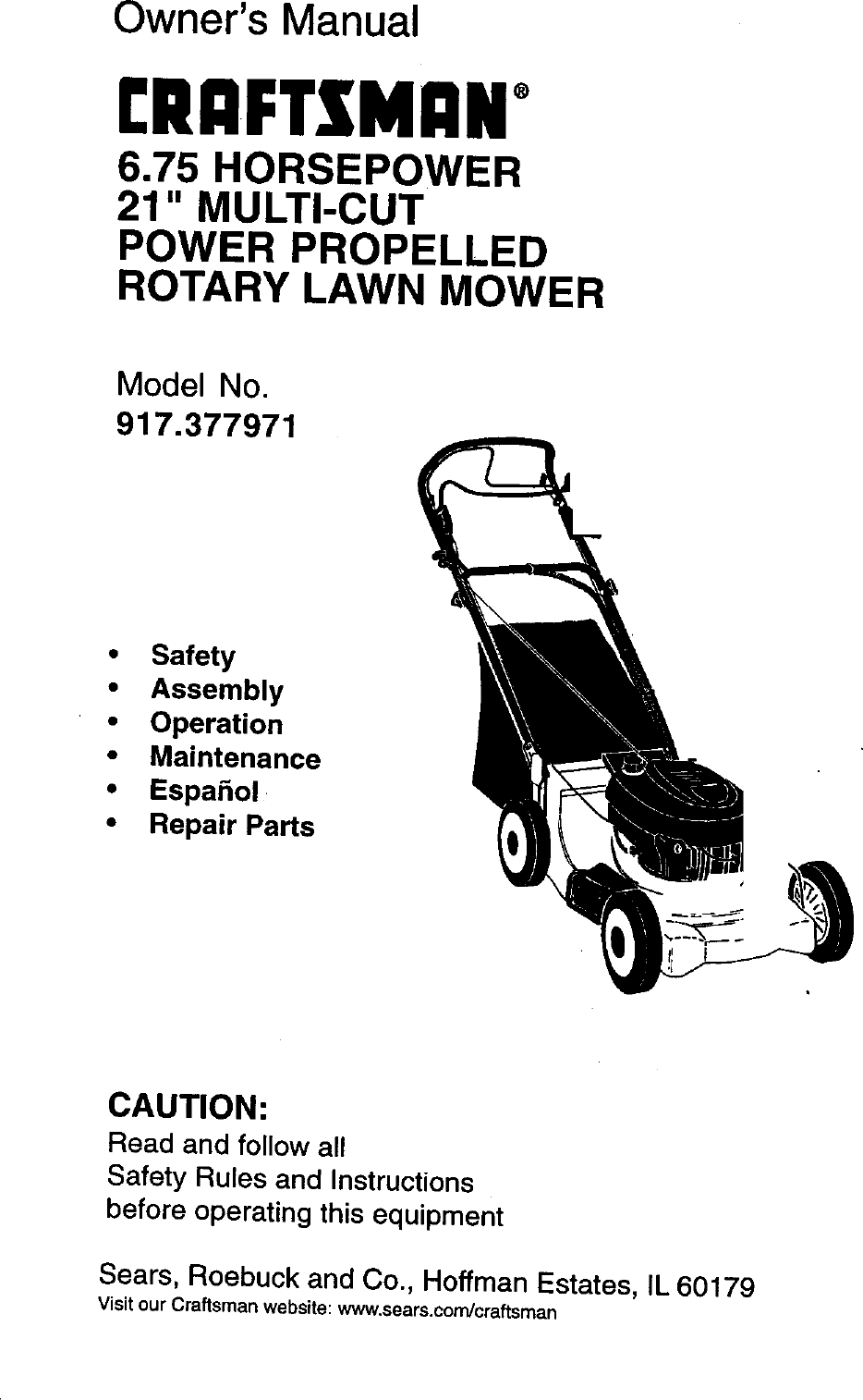 Craftsman 917377971 User Manual 6.75HP 21 ROTARY LAWN