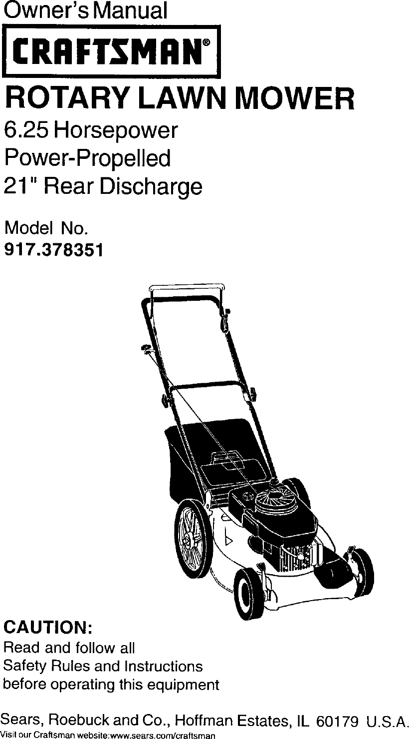 Craftsman 917378351 User Manual LAWN MOWER Manuals And