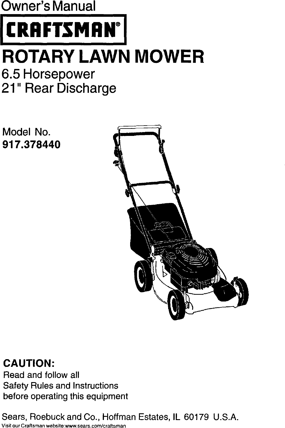 Craftsman 917378440 User Manual Gas, Walk Behind Lawnmower