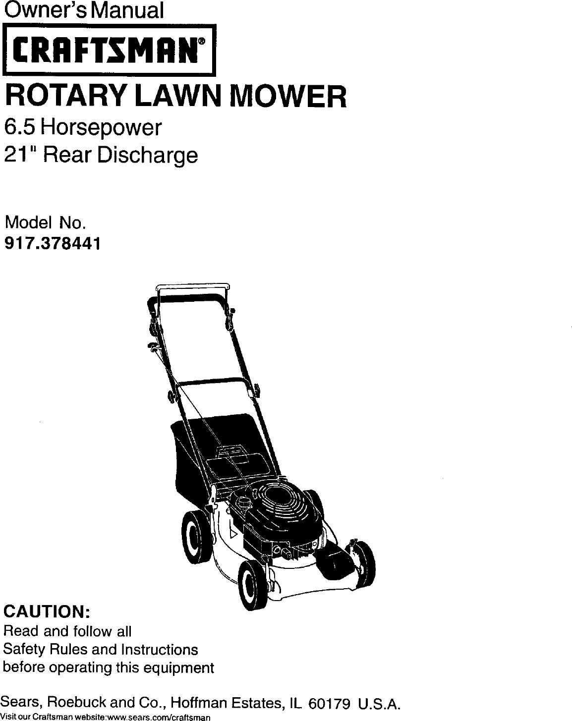 Craftsman 917378441 User Manual Gas, Walk Behind Lawnmower
