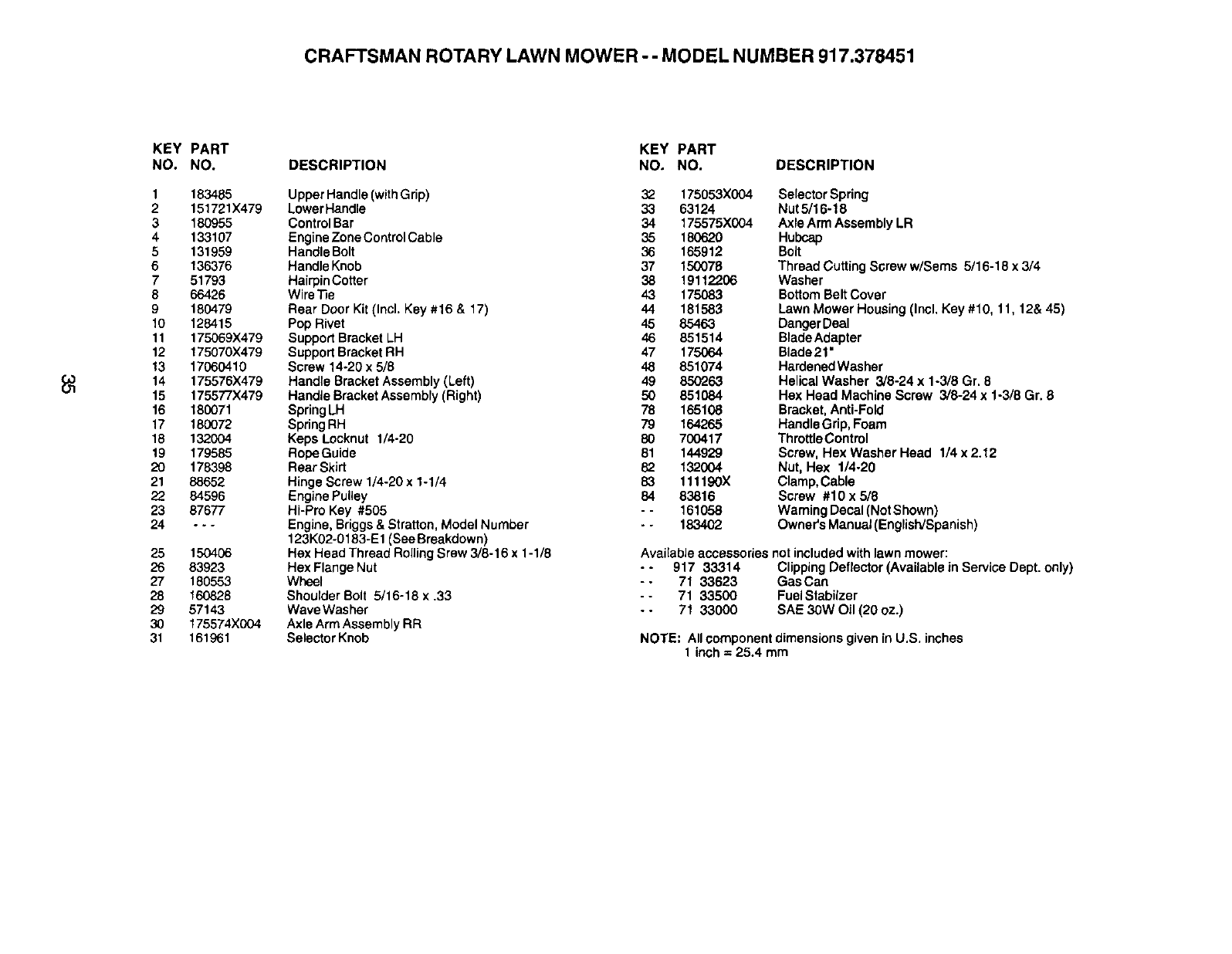 Craftsman 917378451 User Manual Gas, Walk Behind Lawnmower