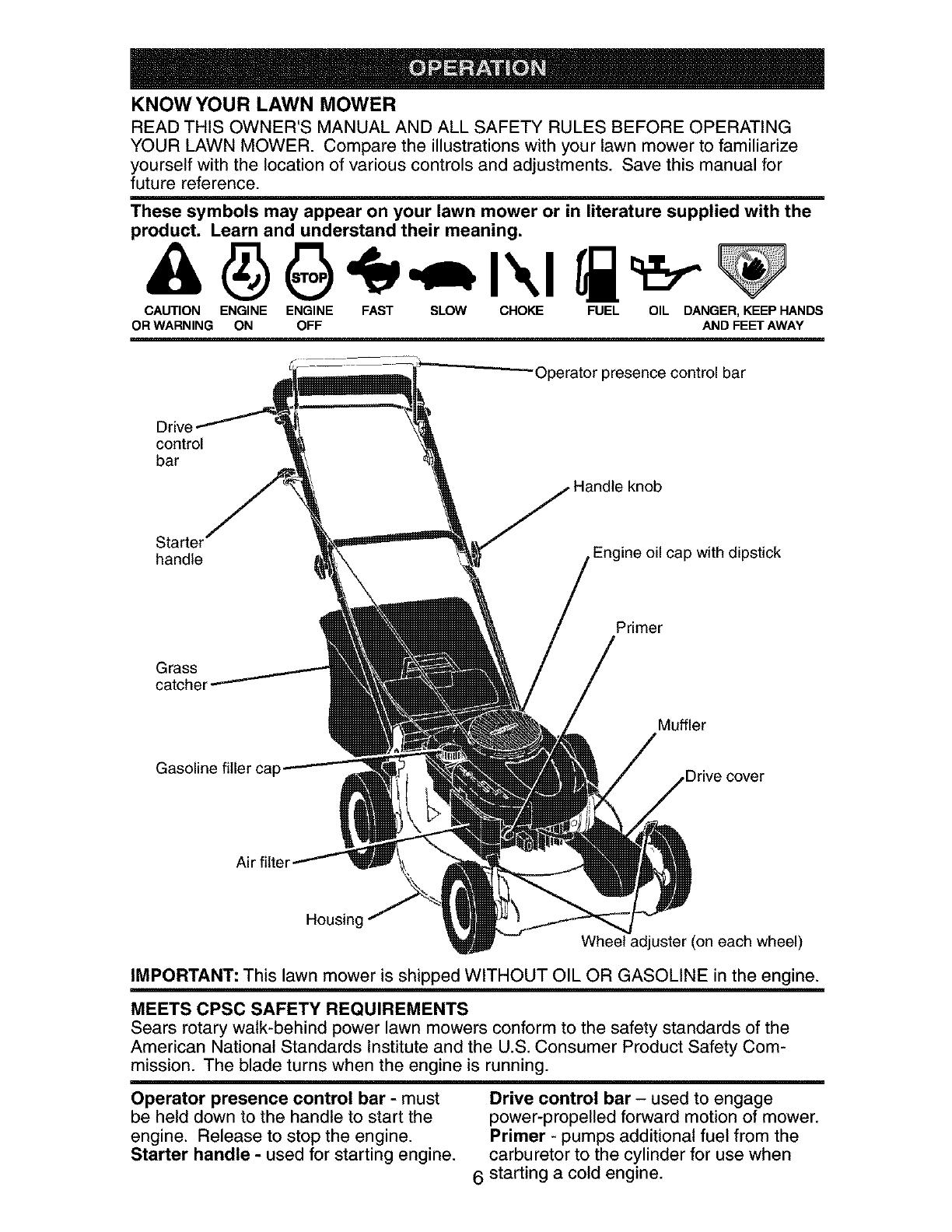 Craftsman 917378481 User Manual Gas, Walk Behind Lawnmower