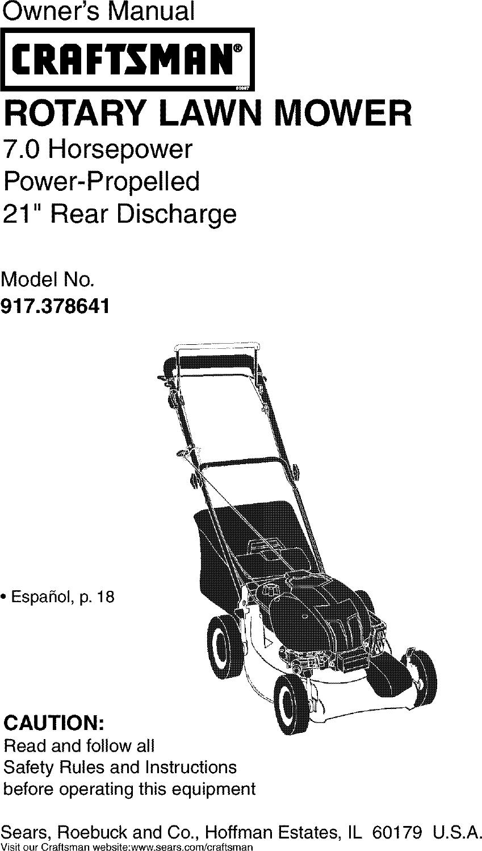 Craftsman 917378641 User Manual Gas, Walk Behind Lawnmower