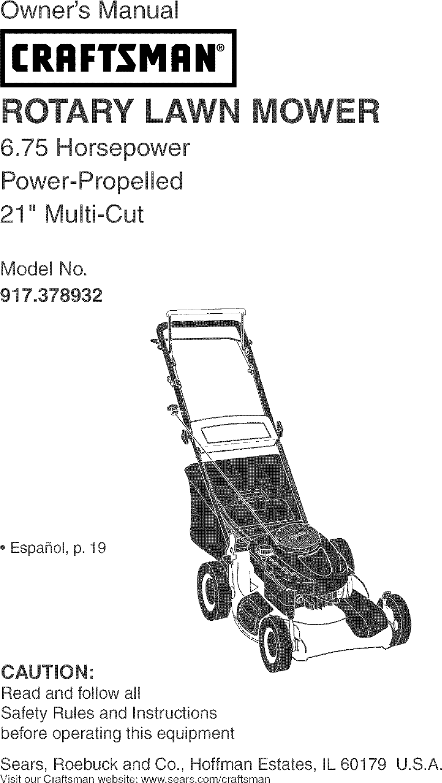 Craftsman 917378932 User Manual Gas, Walk Behind Lawnmower