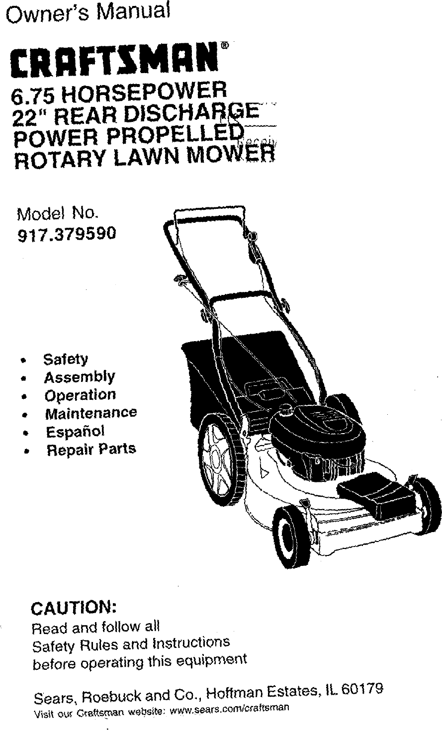 Craftsman 917379590 User Manual ROTARY MOWER Manuals And