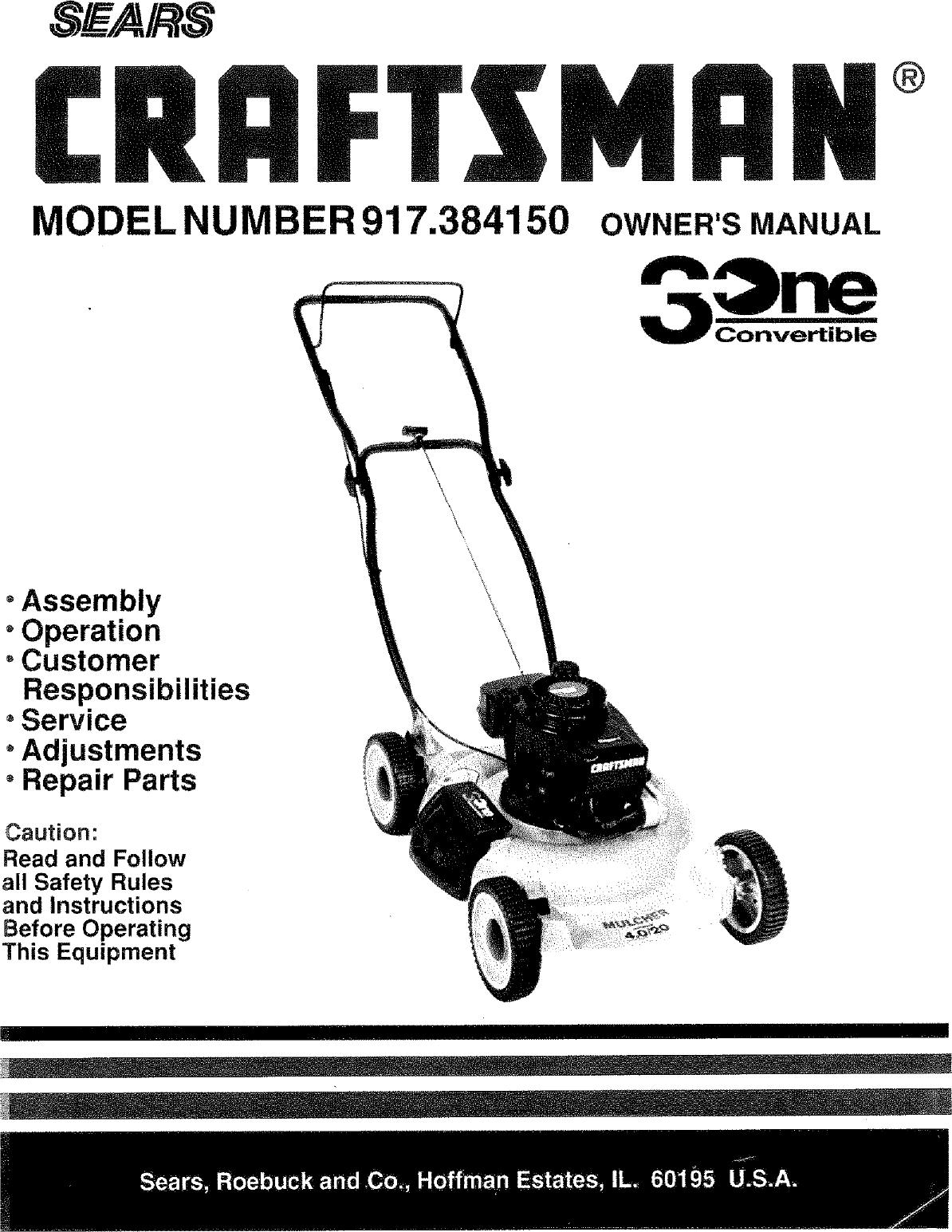 Craftsman 917384150 User Manual LAWN MOWER Manuals And