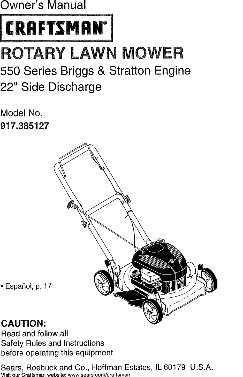 Craftsman 917385127 User Manual LAWN MOWER Manuals And