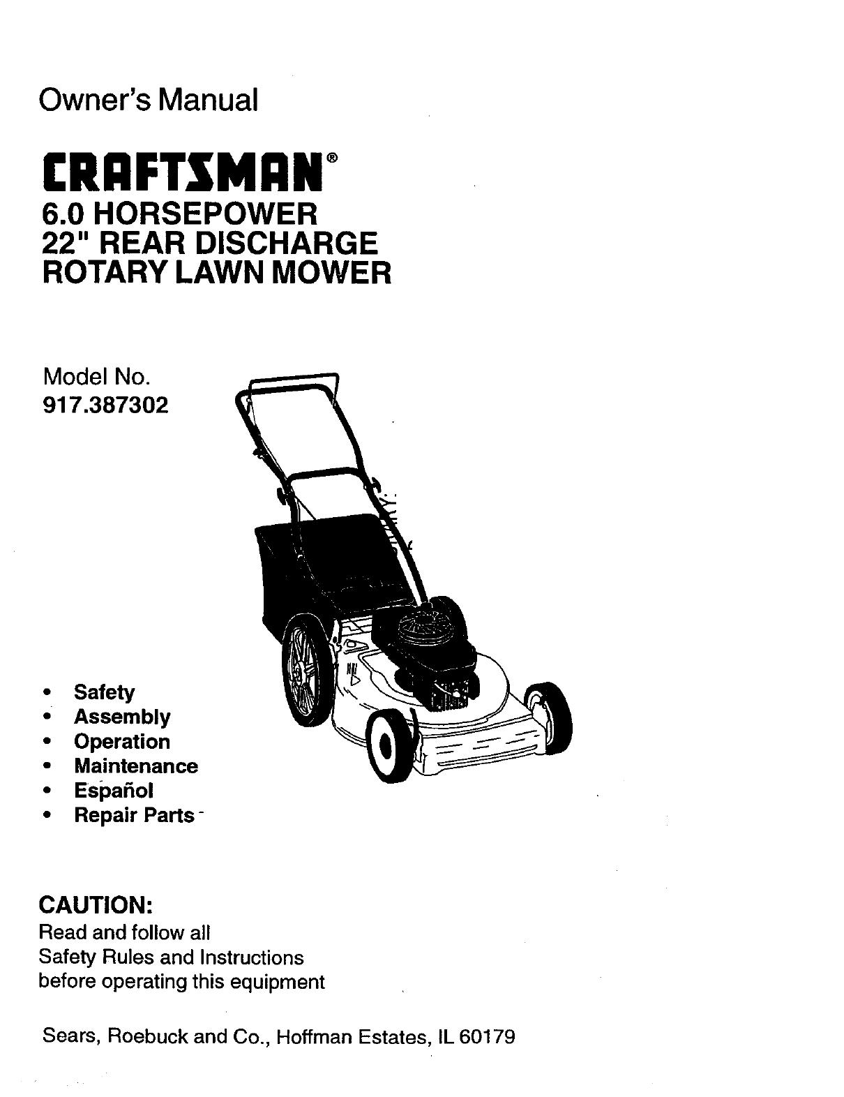 Craftsman 917387302 User Manual ROTARY MOWER Manuals And