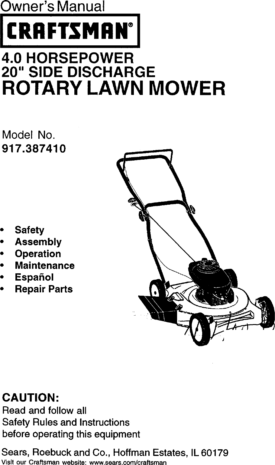 Craftsman 917387410 User Manual ROTARY MOWER Manuals And
