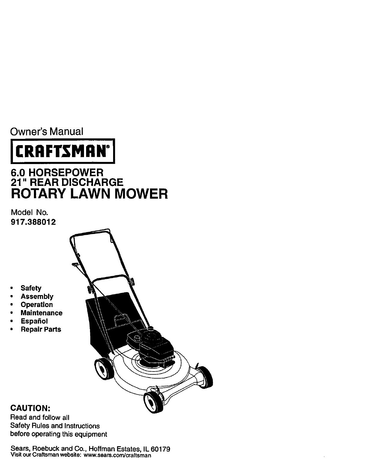 Craftsman 917388012 User Manual Gas, Walk Behind Lawnmower
