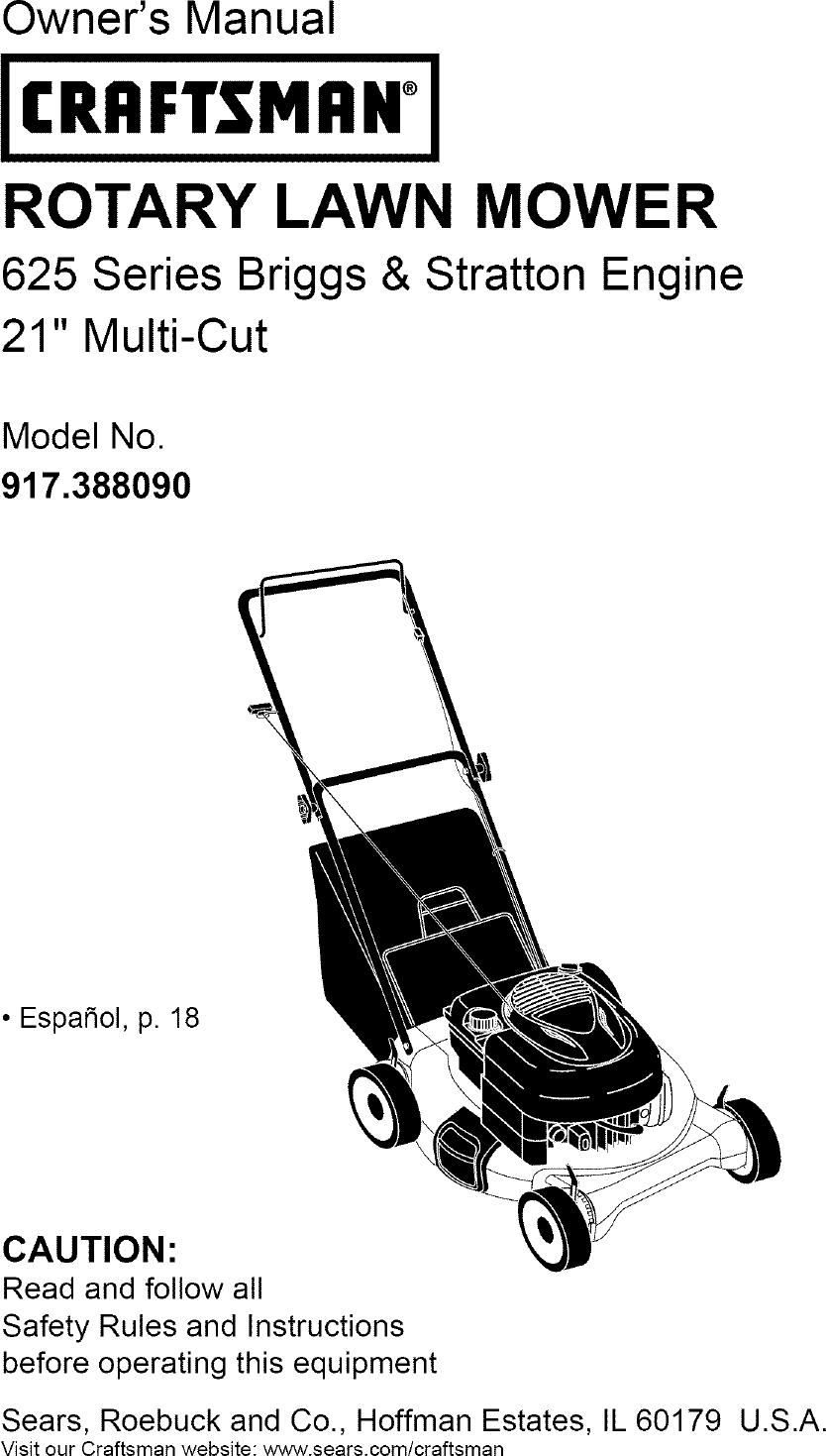 Craftsman 917388090 User Manual LAWN MOWER Manuals And