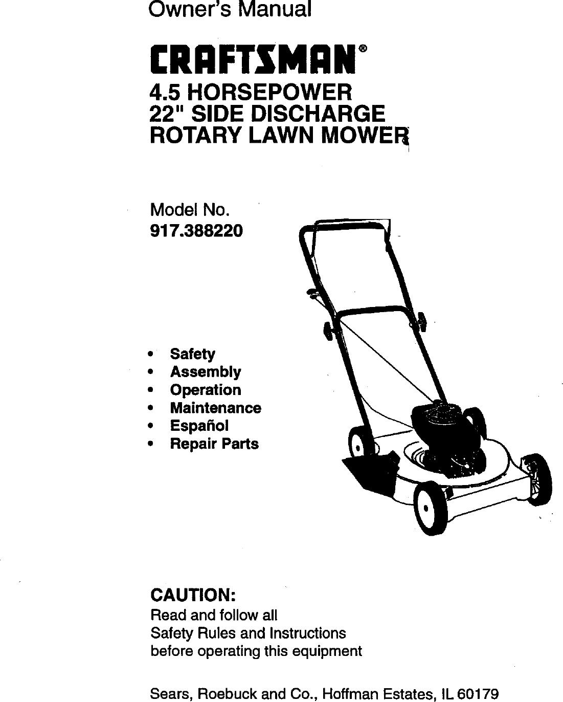 Craftsman 917388220 User Manual 4.5HP 22 ROTARY LAWN MOWER