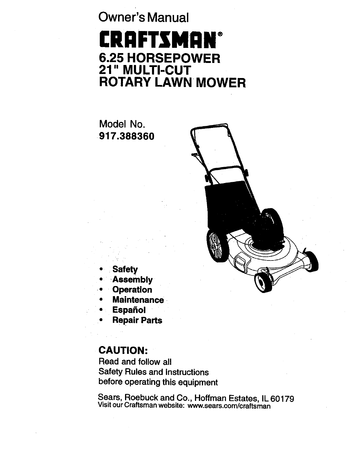 Craftsman 917388360 User Manual 6.25HP 21 ROTARY LAWN