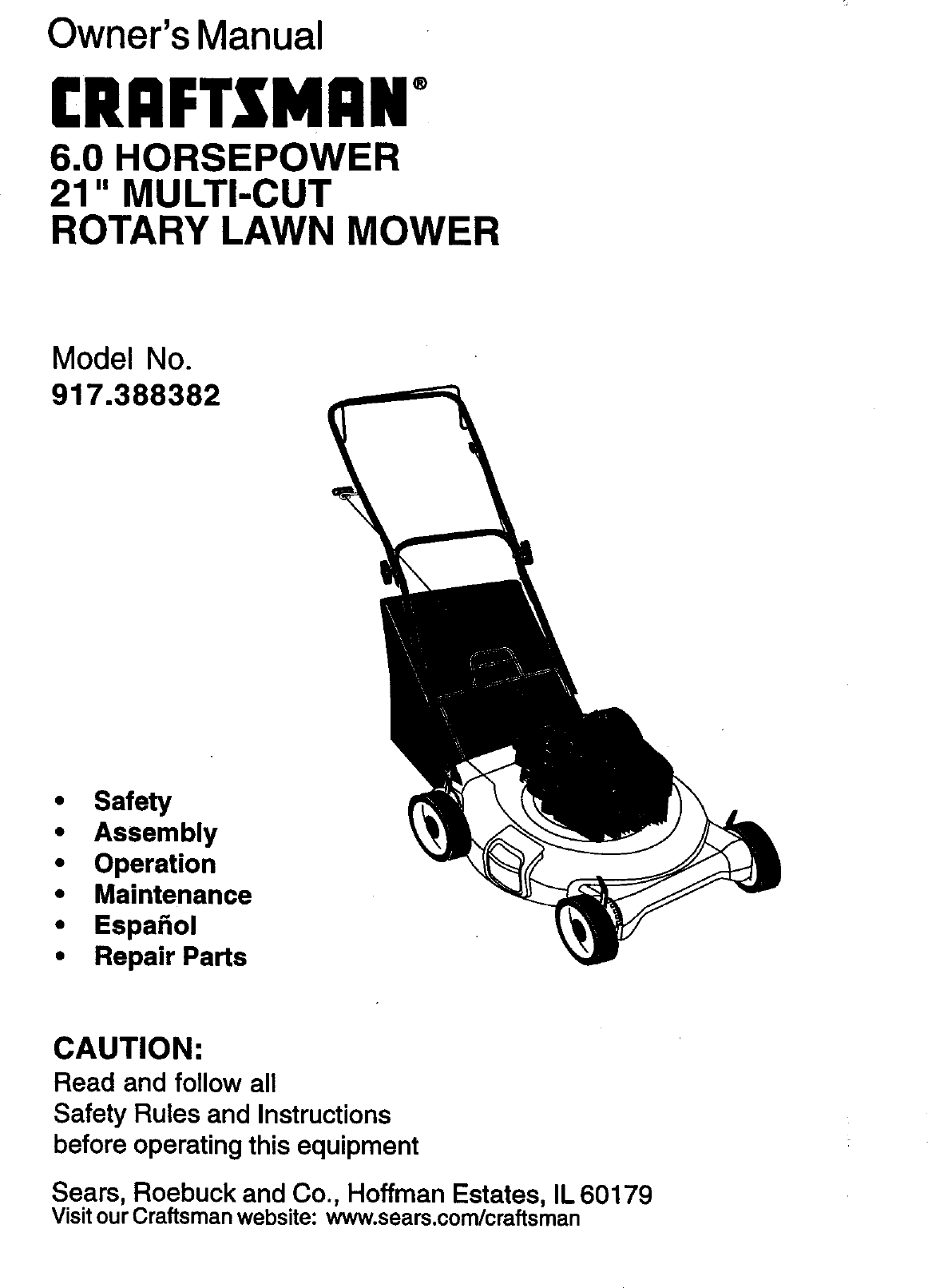 Craftsman 917388382 User Manual 6.0HP 21 ROTARY LAWN MOWER