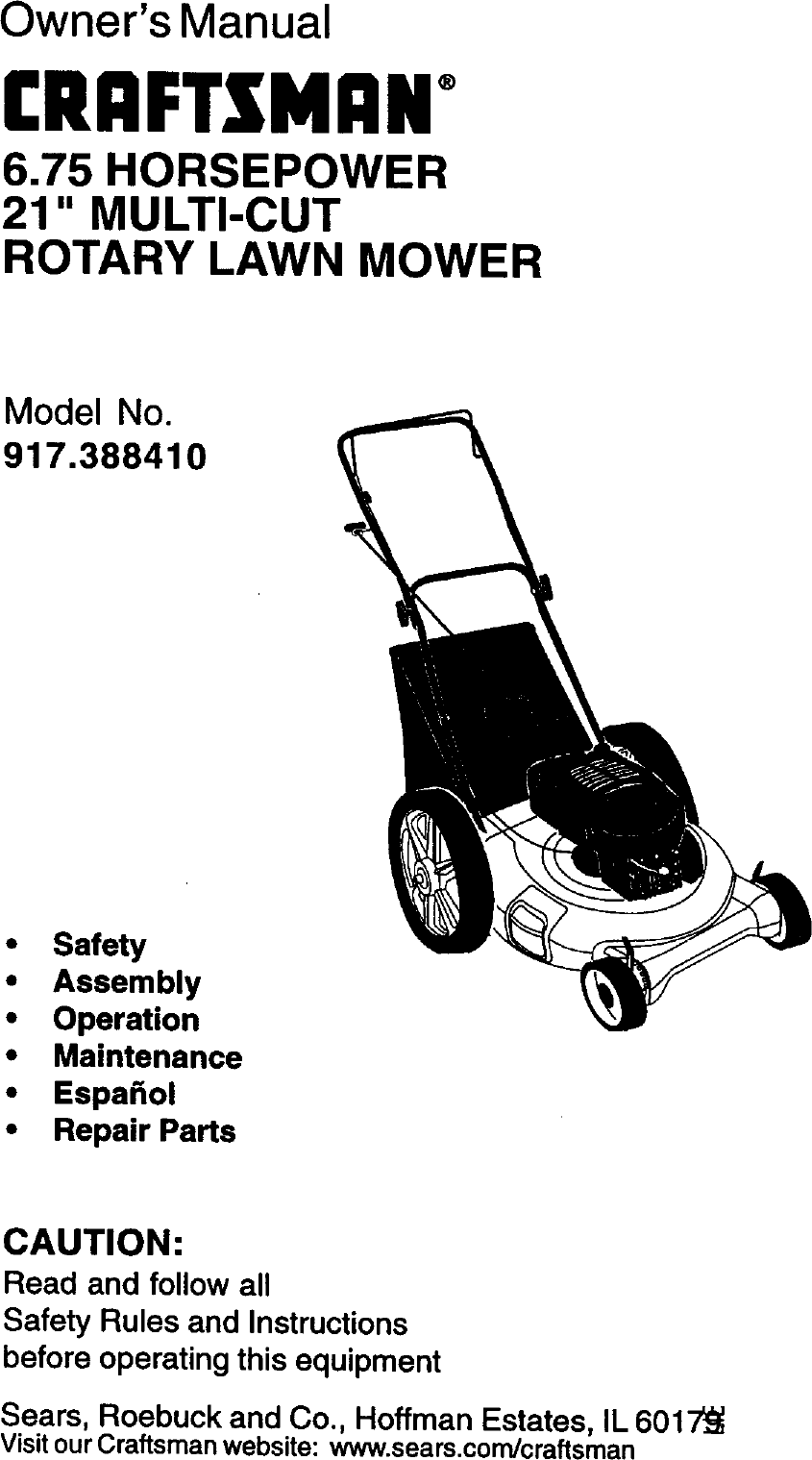 Craftsman 917388410 User Manual ROTARY MOWER Manuals And